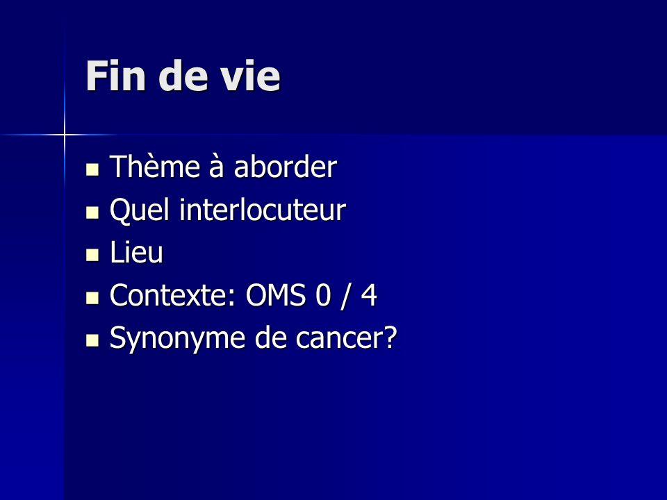 Fin de vie Thème à aborder Quel interlocuteur Lieu Contexte: OMS 0 / 4