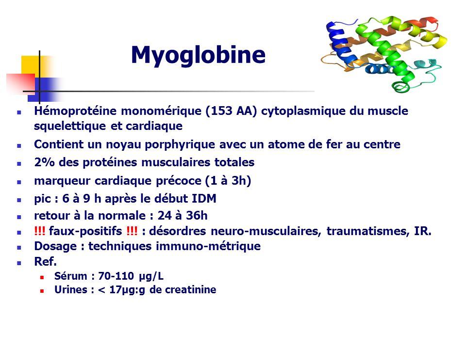 Myoglobine Hémoprotéine monomérique (153 AA) cytoplasmique du muscle squelettique et cardiaque.