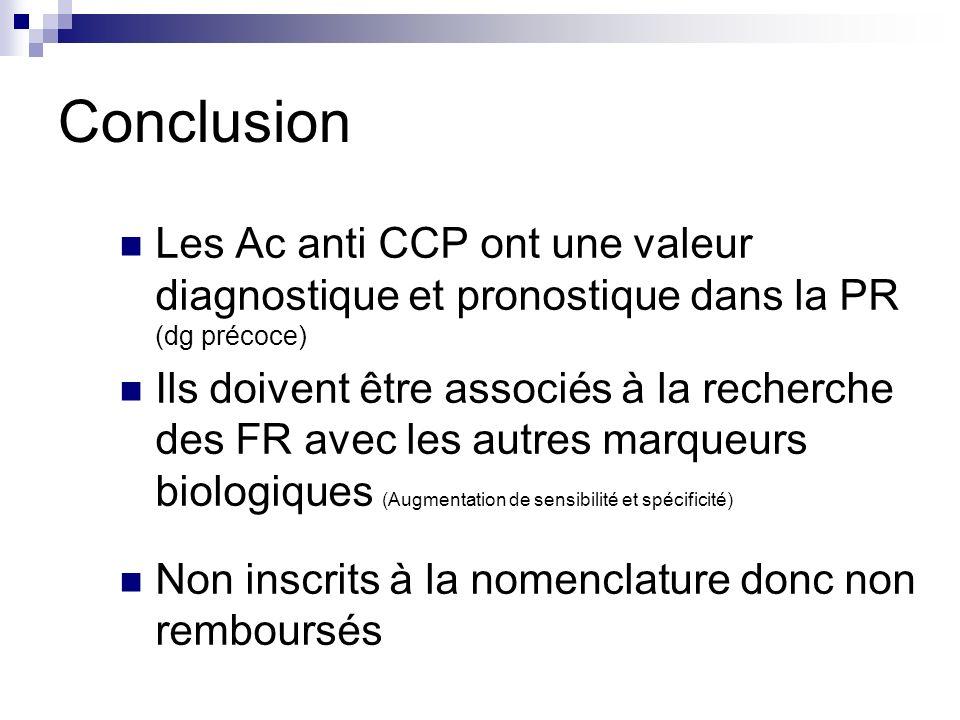 Conclusion Les Ac anti CCP ont une valeur diagnostique et pronostique dans la PR (dg précoce)