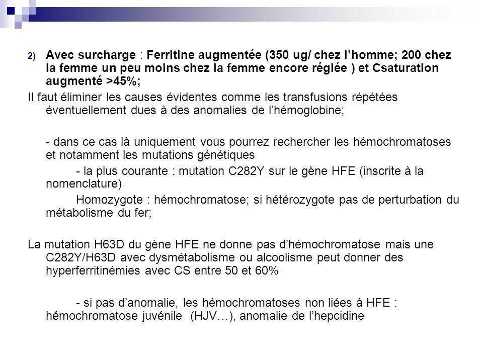 Avec surcharge : Ferritine augmentée (350 ug/ chez l'homme; 200 chez la femme un peu moins chez la femme encore réglée ) et Csaturation augmenté >45%;