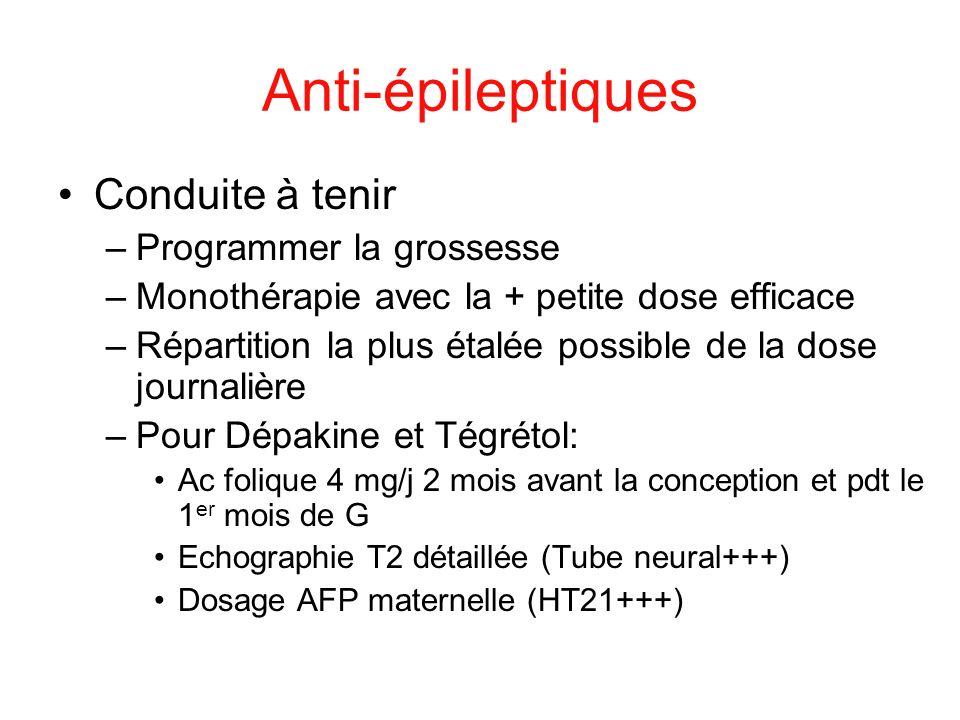 Anti-épileptiques Conduite à tenir Programmer la grossesse