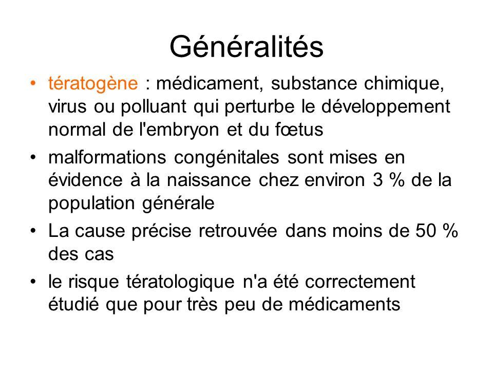 Généralités tératogène : médicament, substance chimique, virus ou polluant qui perturbe le développement normal de l embryon et du fœtus.