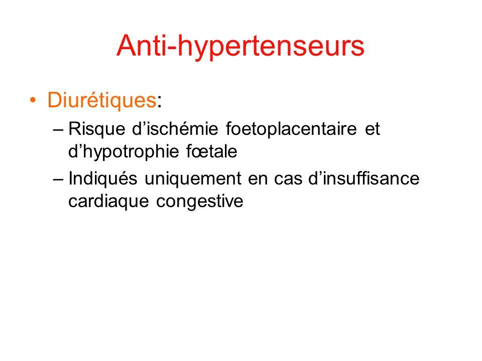 Anti-hypertenseurs Diurétiques: