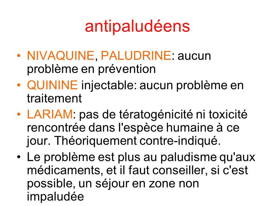 antipaludéens NIVAQUINE, PALUDRINE: aucun problème en prévention