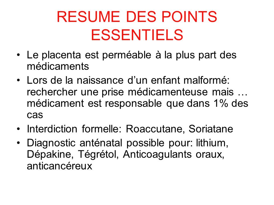 RESUME DES POINTS ESSENTIELS