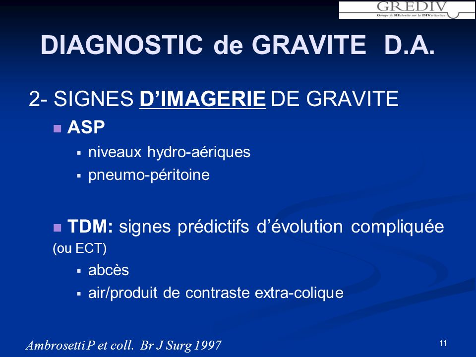 DIAGNOSTIC de GRAVITE D.A.