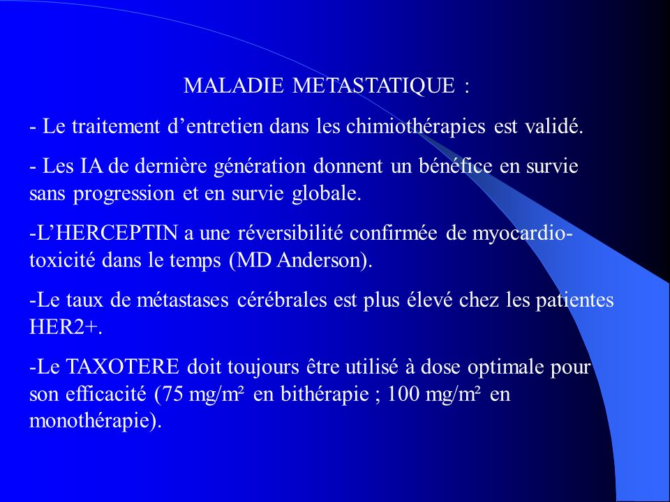 MALADIE METASTATIQUE :