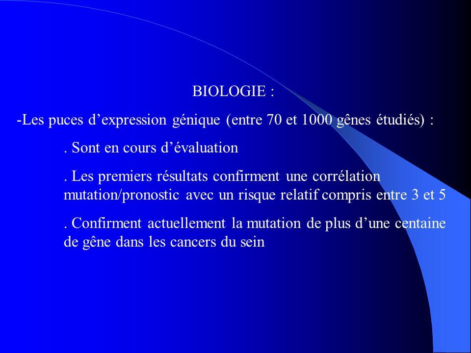 BIOLOGIE : Les puces d'expression génique (entre 70 et 1000 gênes étudiés) : . Sont en cours d'évaluation.