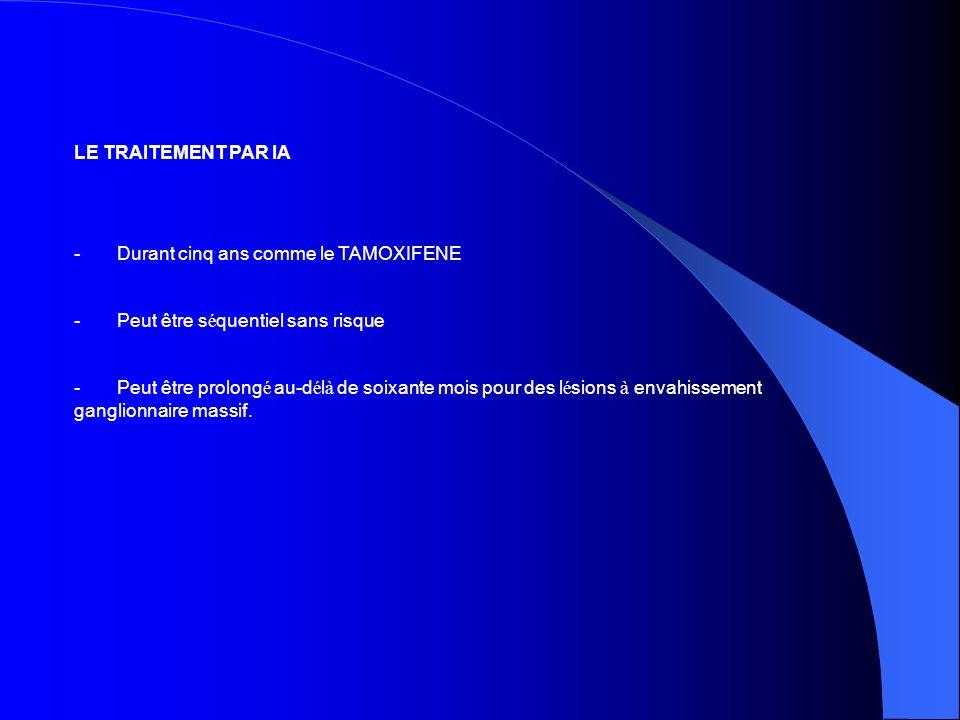 LE TRAITEMENT PAR IA - Durant cinq ans comme le TAMOXIFENE. - Peut être séquentiel sans risque.