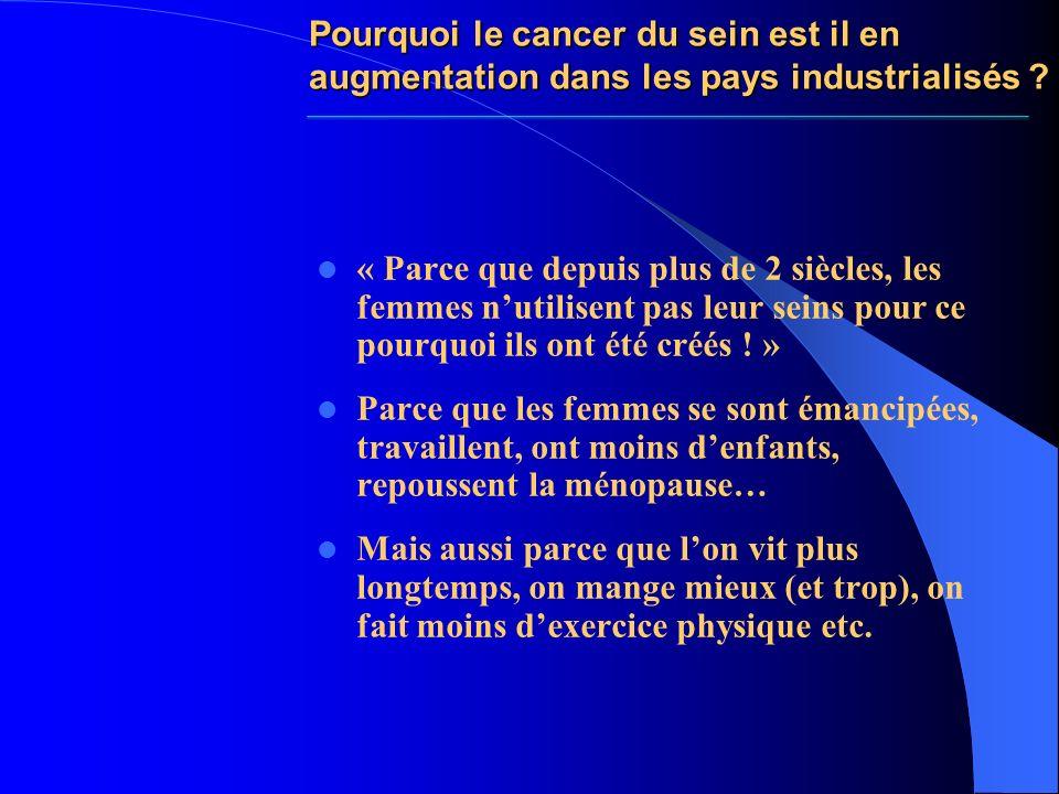 Pourquoi le cancer du sein est il en augmentation dans les pays industrialisés