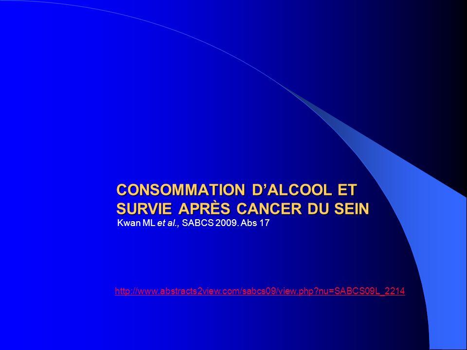 CONSOMMATION D'ALCOOL ET SURVIE APRÈS CANCER DU SEIN