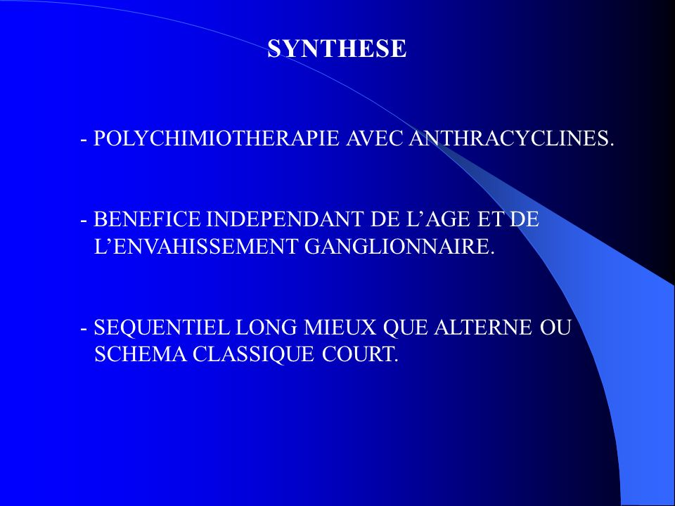 SYNTHESE - POLYCHIMIOTHERAPIE AVEC ANTHRACYCLINES.