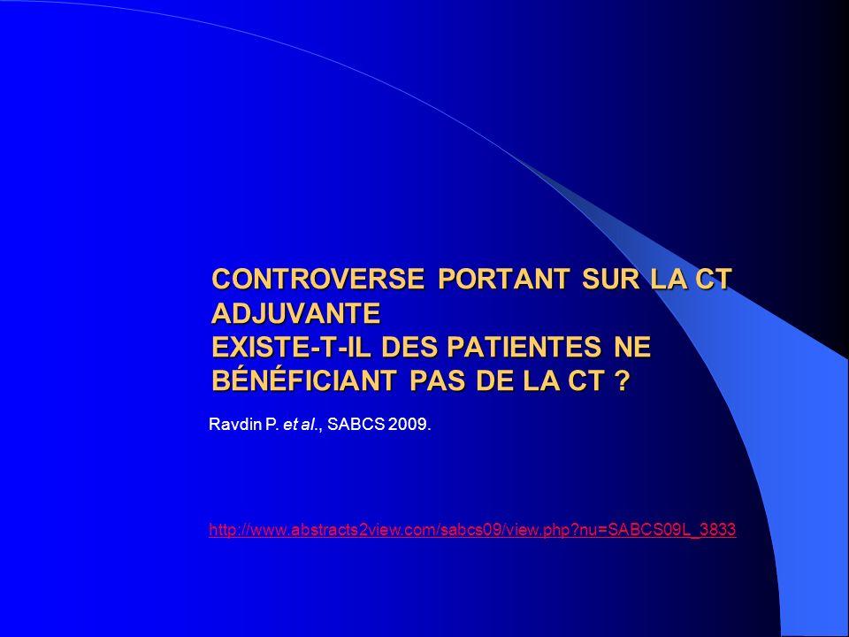 CONTROVERSE PORTANT SUR LA CT ADJUVANTE EXISTE-T-IL DES PATIENTES NE BÉNÉFICIANT PAS DE LA CT