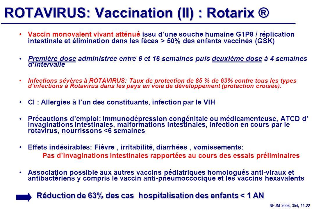 ROTAVIRUS: Vaccination (II) : Rotarix ®