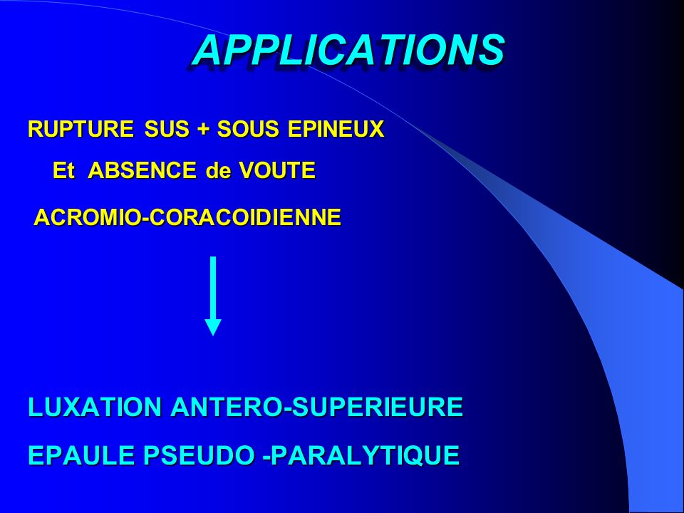 APPLICATIONS LUXATION ANTERO-SUPERIEURE EPAULE PSEUDO -PARALYTIQUE