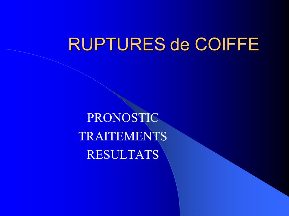 PRONOSTIC TRAITEMENTS RESULTATS