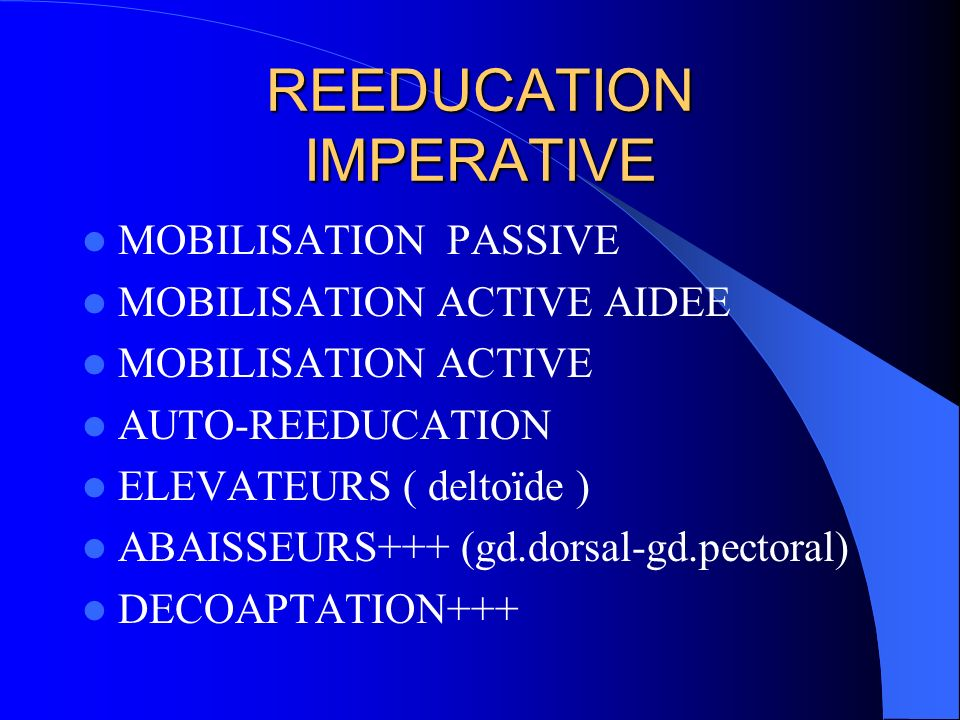 REEDUCATION IMPERATIVE
