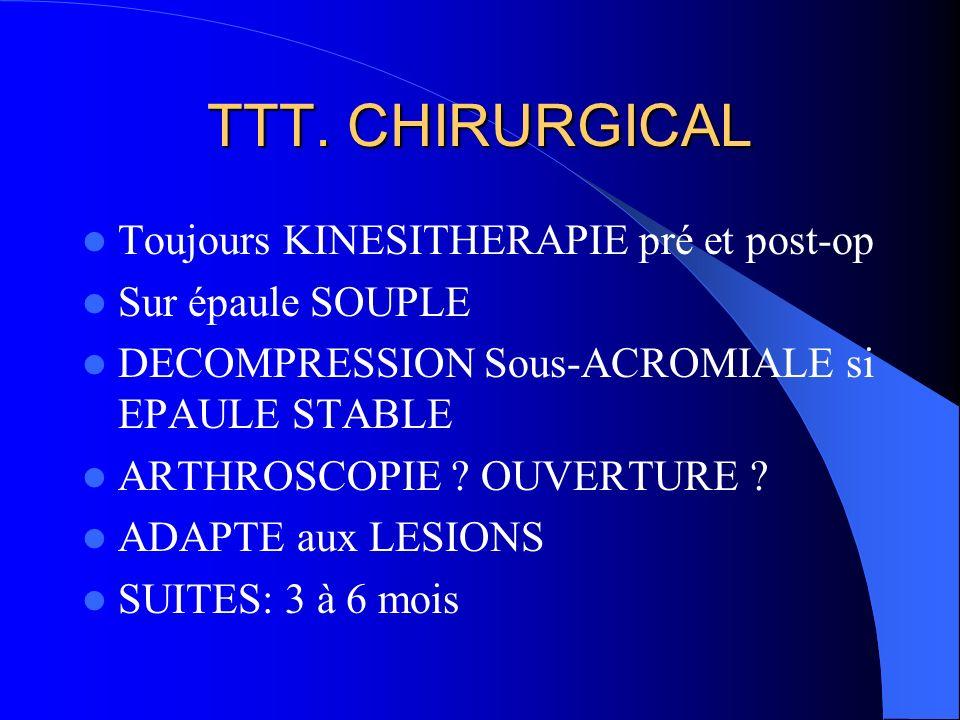 TTT. CHIRURGICAL Toujours KINESITHERAPIE pré et post-op