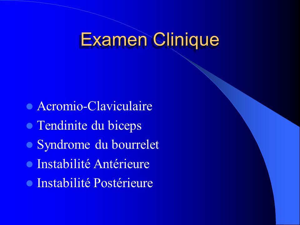 Examen Clinique Acromio-Claviculaire Tendinite du biceps
