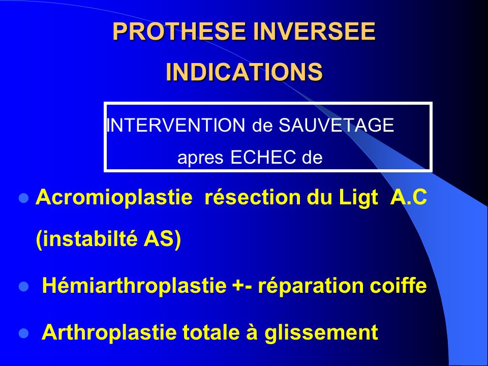 PROTHESE INVERSEE INDICATIONS