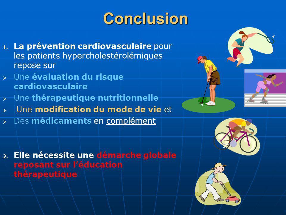 Conclusion La prévention cardiovasculaire pour les patients hypercholestérolémiques repose sur. Une évaluation du risque cardiovasculaire.