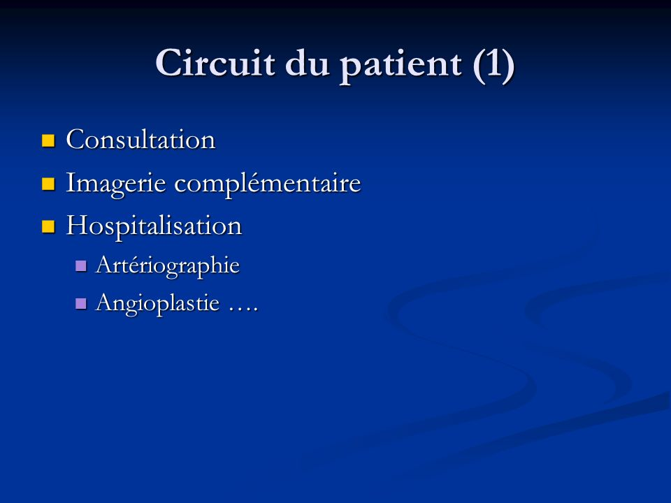 Circuit du patient (1) Consultation Imagerie complémentaire