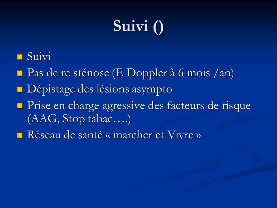 Suivi () Suivi Pas de re sténose (E Doppler à 6 mois /an)