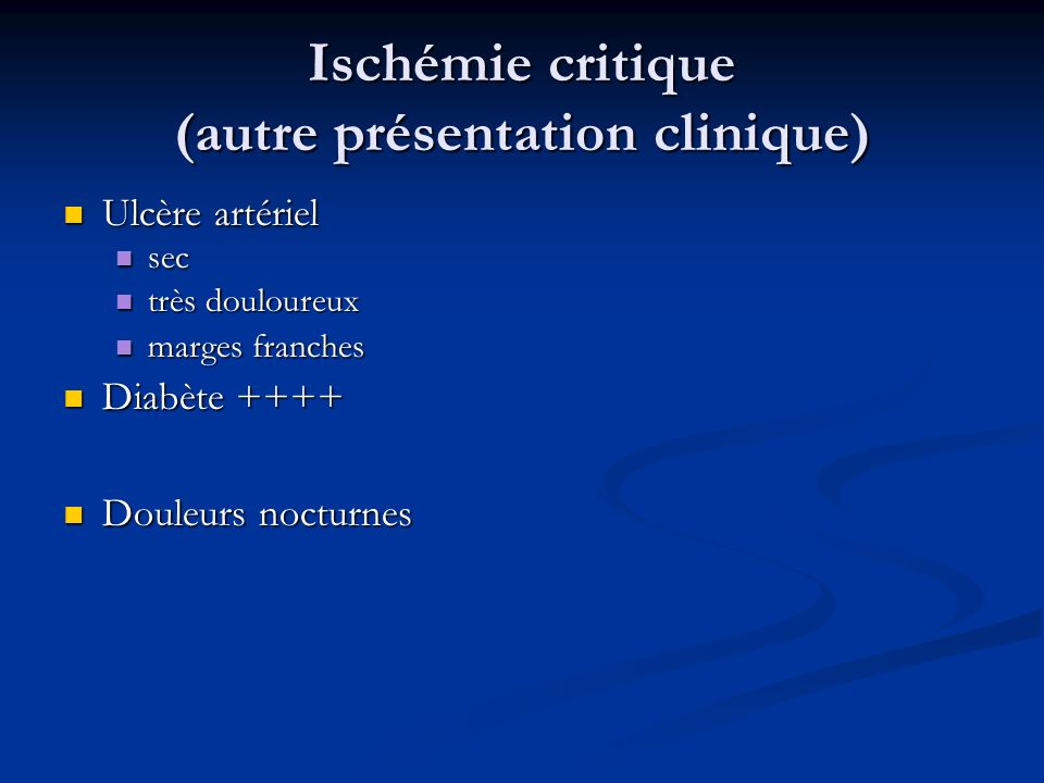 Ischémie critique (autre présentation clinique)