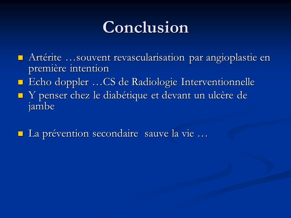 Conclusion Artérite …souvent revascularisation par angioplastie en première intention. Echo doppler …CS de Radiologie Interventionnelle.