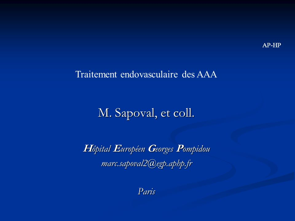 M. Sapoval, et coll. Hôpital Européen Georges Pompidou