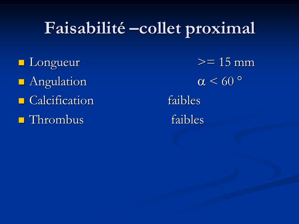 Faisabilité –collet proximal