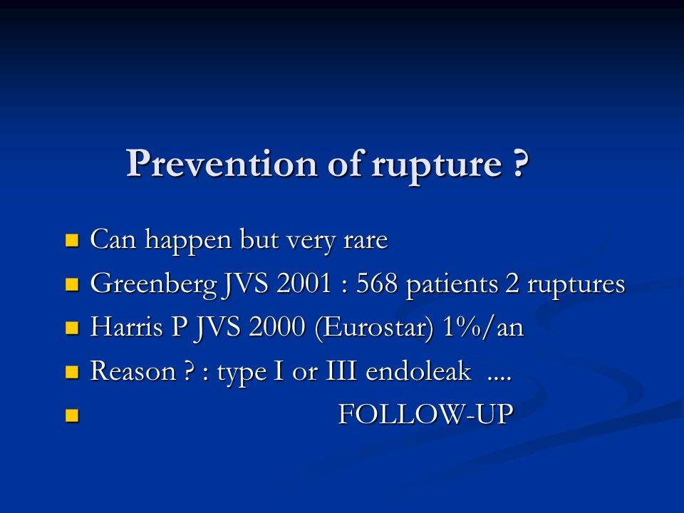 Prevention of rupture Can happen but very rare