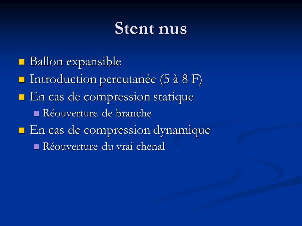 Stent nus Ballon expansible Introduction percutanée (5 à 8 F)