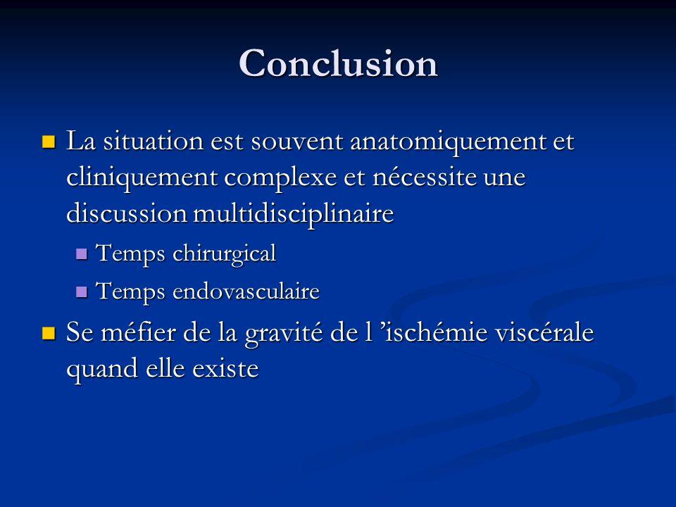 Conclusion La situation est souvent anatomiquement et cliniquement complexe et nécessite une discussion multidisciplinaire.