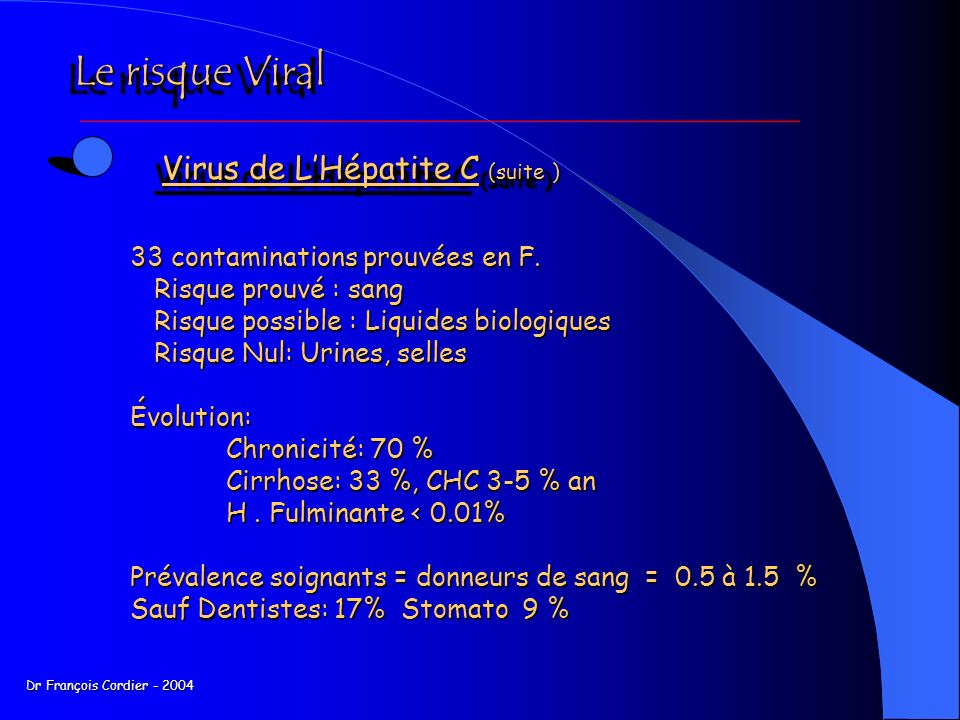 Le risque Viral Virus de L'Hépatite C (suite )