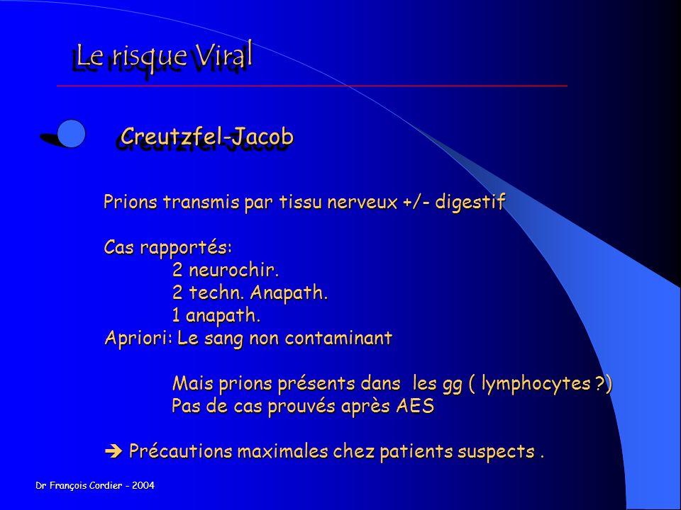 Le risque Viral Creutzfel-Jacob