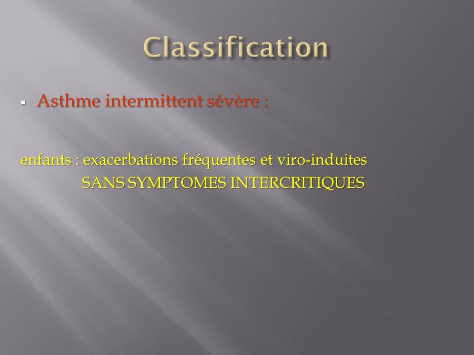 Classification Asthme intermittent sévère :