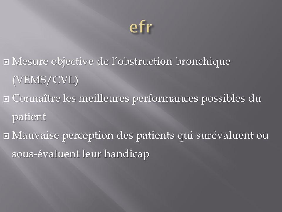 efr Mesure objective de l'obstruction bronchique (VEMS/CVL)