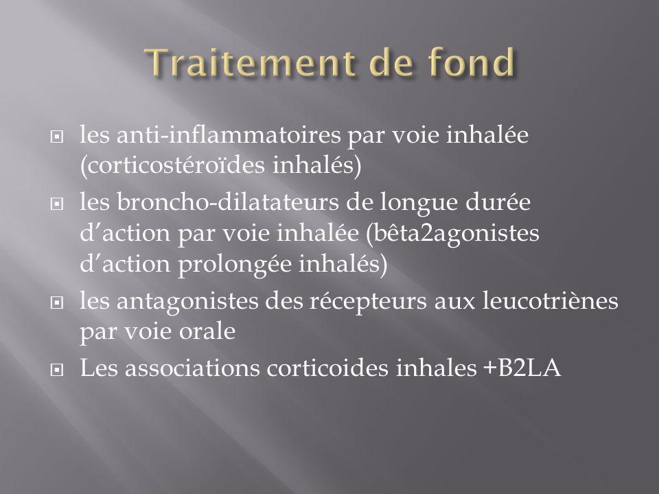 Traitement de fond les anti-inflammatoires par voie inhalée (corticostéroïdes inhalés)
