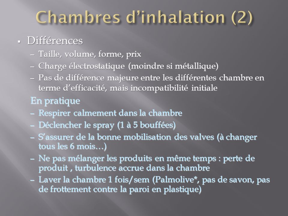 Chambres d'inhalation (2)‏