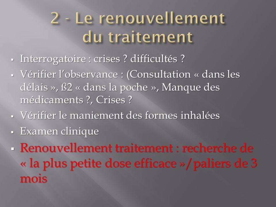 2 - Le renouvellement du traitement