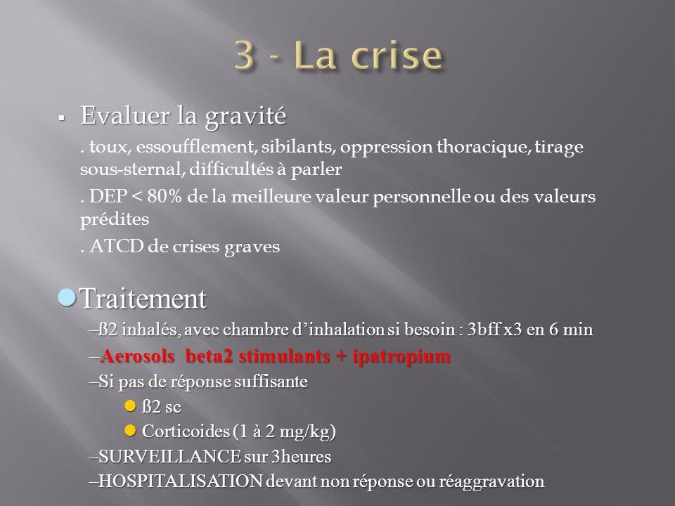 3 - La crise Traitement Evaluer la gravité