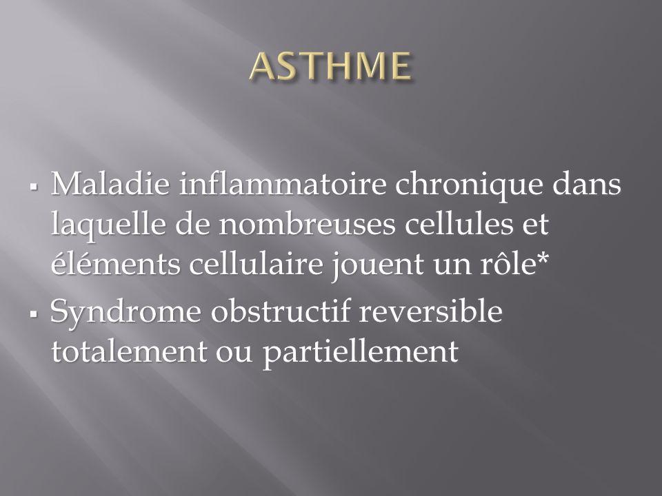 ASTHME Maladie inflammatoire chronique dans laquelle de nombreuses cellules et éléments cellulaire jouent un rôle*