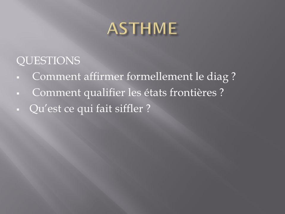 ASTHME QUESTIONS Comment affirmer formellement le diag