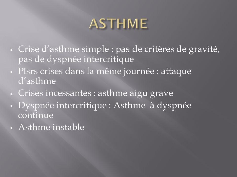 ASTHME Crise d'asthme simple : pas de critères de gravité, pas de dyspnée intercritique. Plsrs crises dans la même journée : attaque d'asthme.
