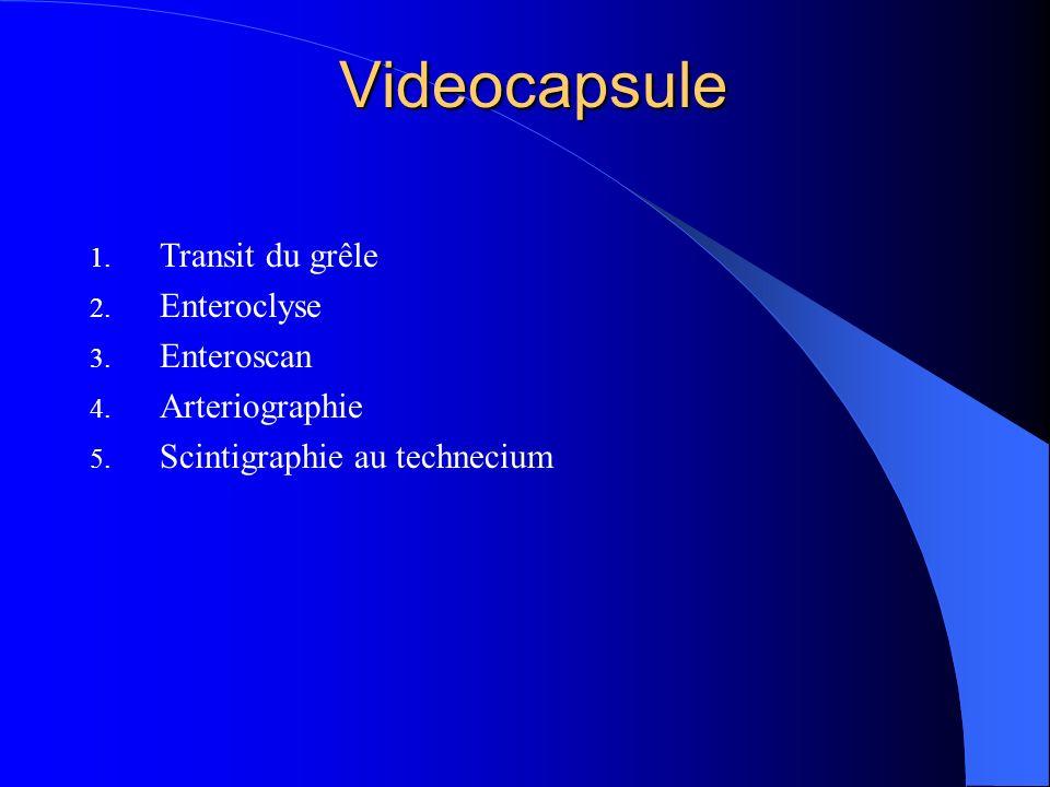 Videocapsule Transit du grêle Enteroclyse Enteroscan Arteriographie