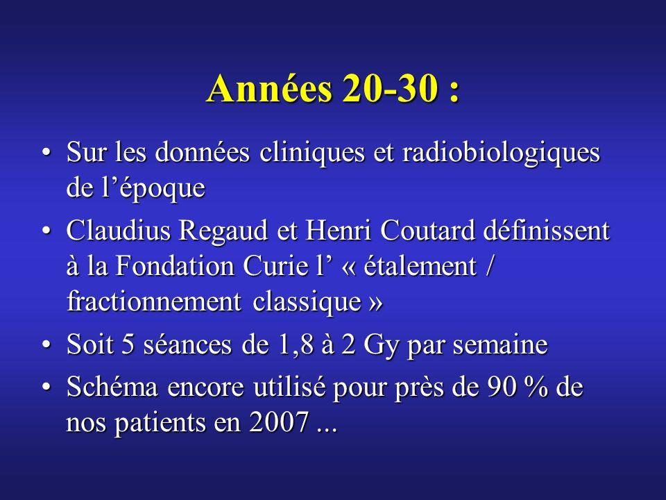 Années 20-30 :Sur les données cliniques et radiobiologiques de l'époque.