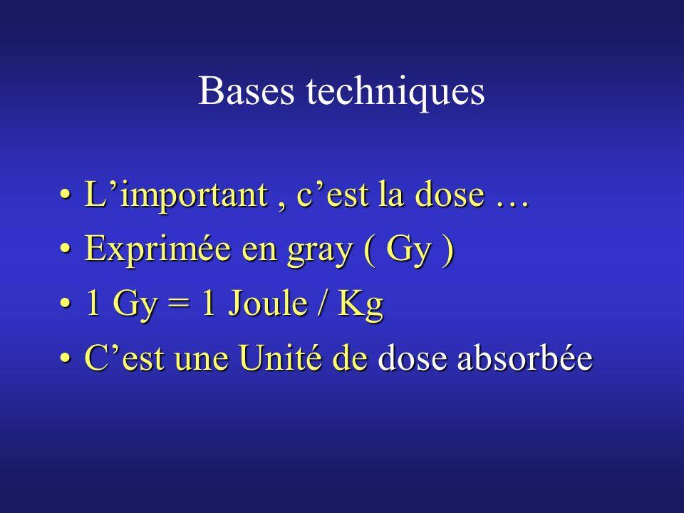 Bases techniques L'important , c'est la dose … Exprimée en gray ( Gy )