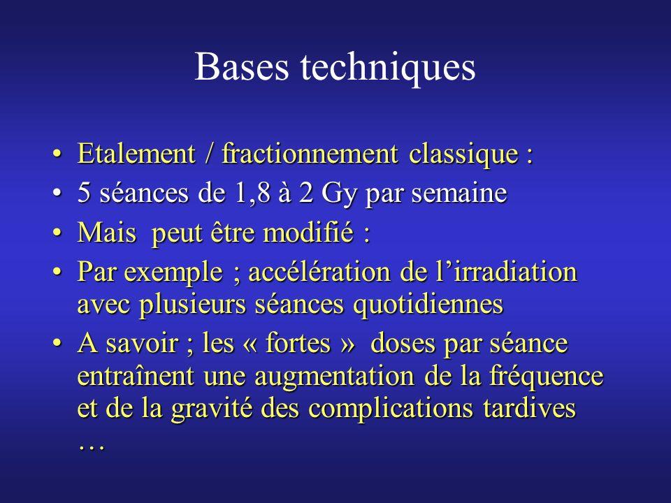 Bases techniques Etalement / fractionnement classique :