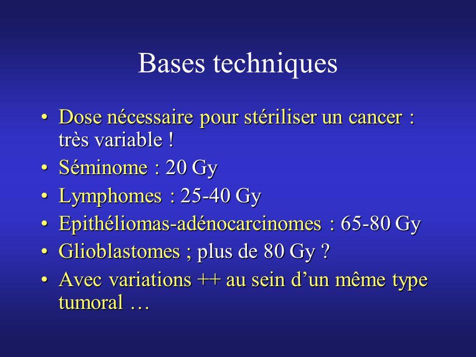 Bases techniquesDose nécessaire pour stériliser un cancer : très variable ! Séminome : 20 Gy. Lymphomes : 25-40 Gy.